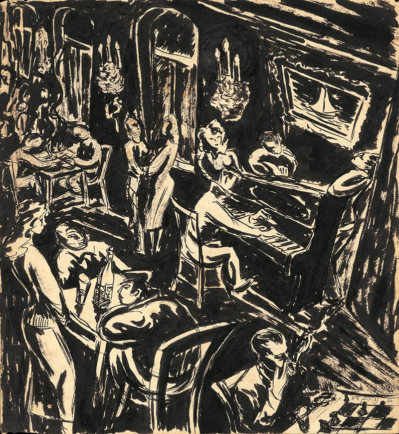 The soldiers house in Be'er Sheva, ink on paper, 1949