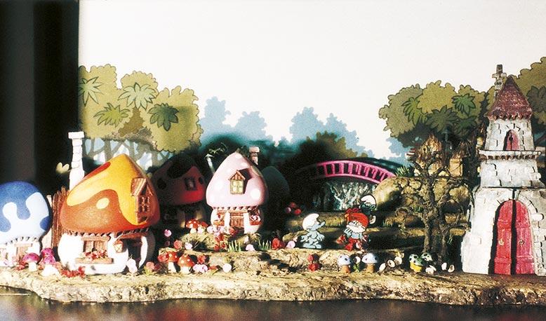 """Stage design for children's theater """"Hadardasim"""" (The Smurfs), 1984"""