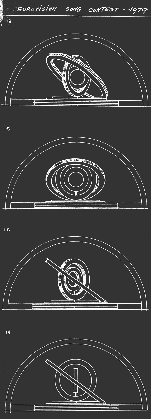 Drawings of the rings in various positions